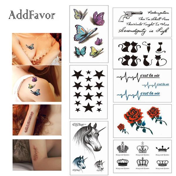 Bittb 100 Folhas Sexy Tatuagens Falsas Tatuagens Temporárias Corpo Braço Art Manga Bonito Projeto Da Borboleta Flor Do Gato DIY Etiqueta Do Tatuagem