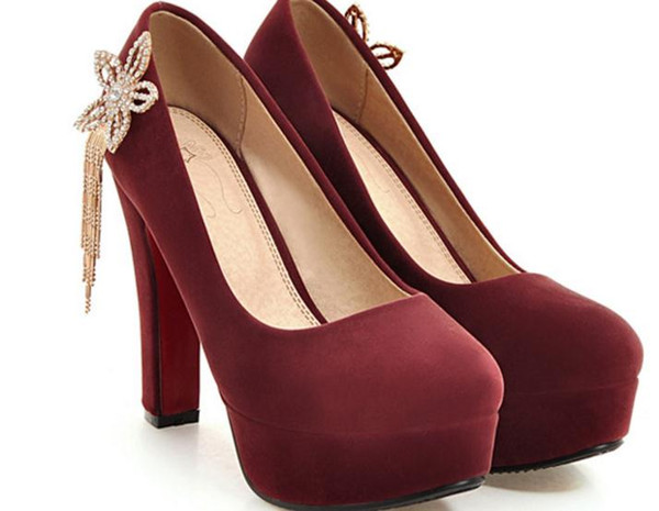 Free send Hot High heeled shoes water drill Coarse heel Single shoes large size 44---47 yards women shoes