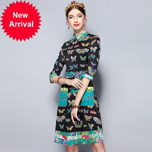 Fashion Runway Summer Dress Women's Half Sleeve Elegant Belt Pockets Beading Butterfly Floral Print Vintage Dress