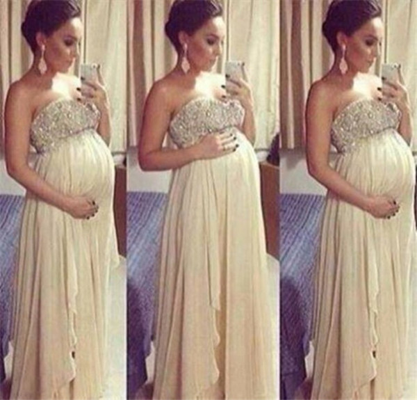 Sexy Maternity Prom Dresses 2018 For Pregnant Woman A Line Beaded Top Sweetheart Floor Length Chiffon Formal Evening Gowns