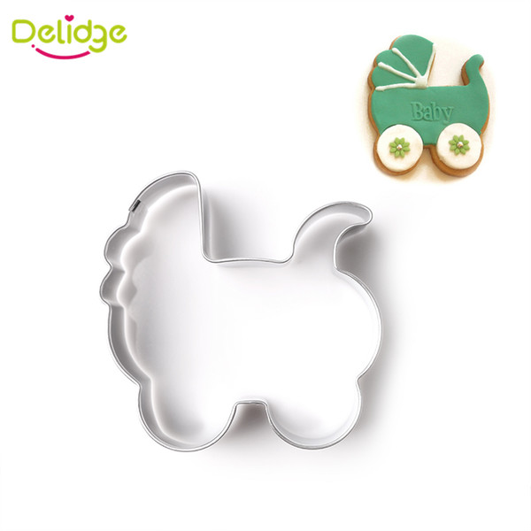 Delidge 1 pc Baby Series Cookie Molds Stainless Steel Hat Stroller Bib Rattles Horse Glasses Cookie Cutter Cake Decoration Mold