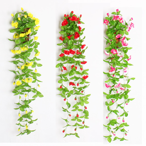 Artificial Flowers With Leaves Silk flower Wall Hanging Vines fake roses wall decor Rattan For Balcony Fence Wedding garland home Decoration
