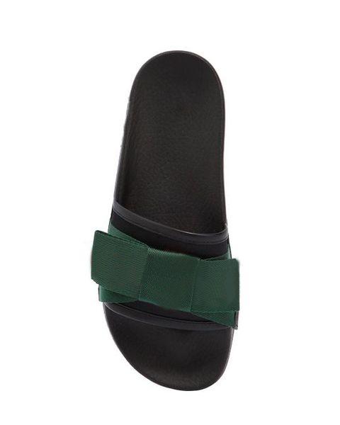mens womens fashion Black 10mm Bow Satin Slide sandals boys girls summer outdoor beach flip flops with rubber sole