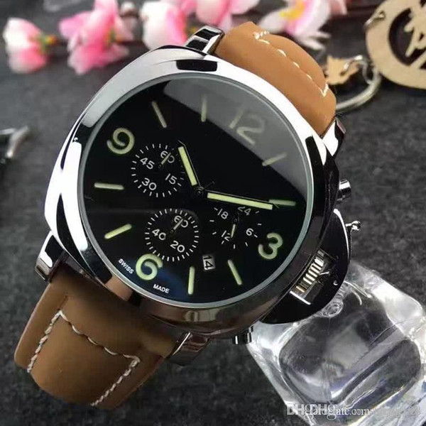 2018 Top quality Man Military watch leather steel luxury Casual wristwatch Famous brand quartz watch male clock Fashion sports New watches