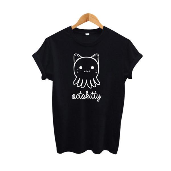 Women's Tee 2017 Summer Cute Cat T Shirt Women Harajuku Cartoon Kitty Graphic Tees Women Clothing Tumblr Hipster Black White Tee Shirt Femme