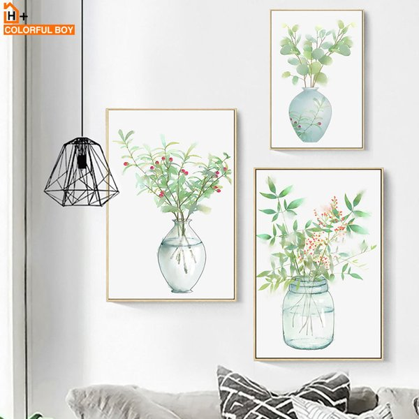 COLORFULBOY Bottle Flower Watercolor Nordic Posters And Prints Wall Art Canvas Painting Wall Pictures For Living Room Decoration