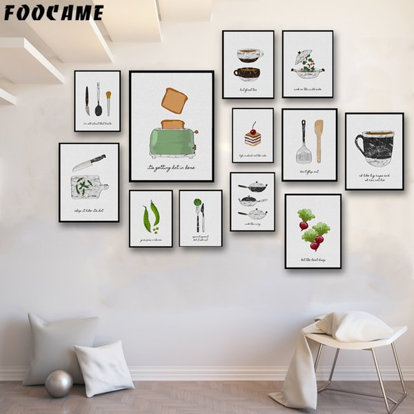 FOOCAME Bread Machine Cake Vegetables Coffee Pot Tableware Posters and Prints Art Canvas Painting Home Decoration Wall Kitchen