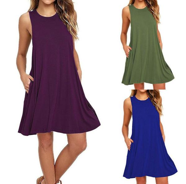 Hot sale women's fashion sleeveless pocket casual tank plus size solid vest swing dress 9 colors S-XXL