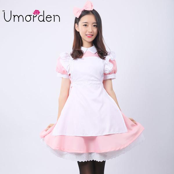 Pink Women Maid Maids Cosplay Clothing Alice in Wonderland Costume Costumes Fancy Lolita Dress
