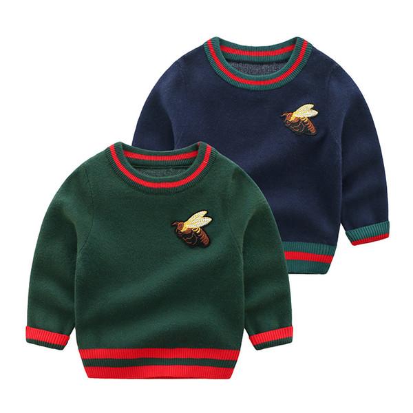 Güzel Arı Örme Kazak Kazak Bebek Moda Çizgili Pamuk Çocuklar için Tişörtü Erkek Kız için En Kaliteli Çocuk Kazak