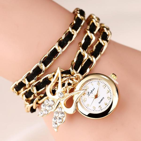 2016 New Arrival Bracelet Watch Women Ladies Quartz watch Female Pendant Clock Imitation Pearl Chain Wrist Watches relojes mujer