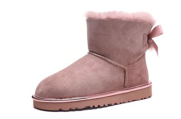 Twilicht Pink 2018-19 Top Winter Australia Classic Schneemode YOUGG Stiefel Leder Baileyi Bowknot Damen Bailey Bow Knee Damenschuh