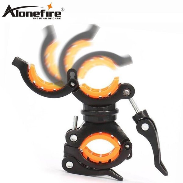 AloneFire BC05 360 Degree Rotation Cycling Flashlight Holder Bicycle Light Torch Mount LED Head Front Light Holder Clip Bike Accessories
