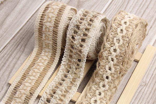 2M/Lot Natural Jute Burlap Hessian Ribbon Lace Trims Tape Roll Vintage Rustic For Home Garden Wedding Decoration