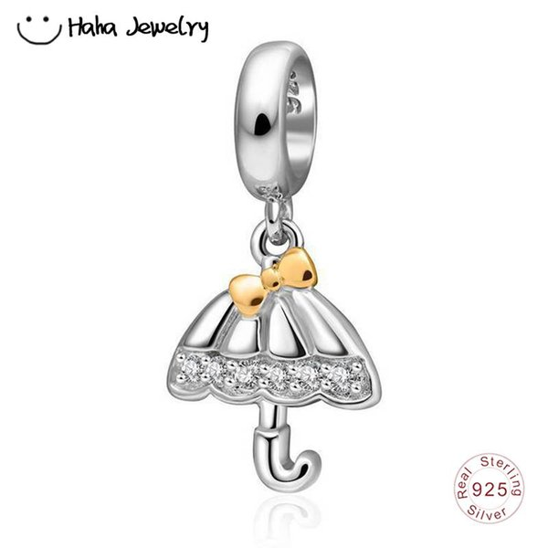 Haha Jewelry Dangle Umbrella Charm with a Gold Plated Bow Genuine 925 Sterling Silver Clear CZ Bead for Pandora Charms Bracelet Making