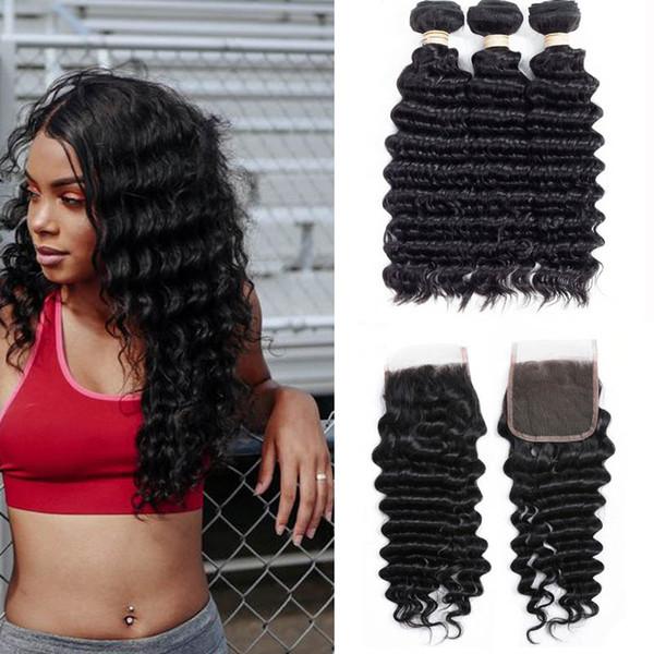 I capelli removibili sciolti dei capelli di estensioni dei capelli umani di Wave dei peli peruviani possono comprare 3 colori naturali dei pacchi con la chiusura