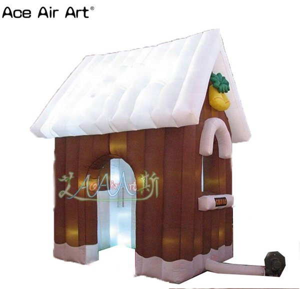 High quality inflatable santa grotto tent Xmas day brown inflatable christmas Log cabin with LED light
