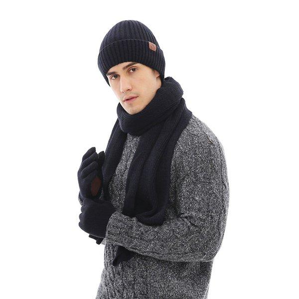 2018 New Fashion Man Schal, Hut Handschuh Sets Winter Warme Wraps Gestrickte 3 Stücke Solide Unisex Dicke Männlichen Mützen Weihnachtsgeschenke