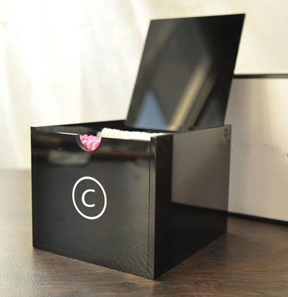 Lusso C Cosmetic Holder acrilico trucco tamponi Box Big attrezzi di trucco di trucco di spazzola Desktop Storage Box Con Confezione Regalo per il regalo di nozze