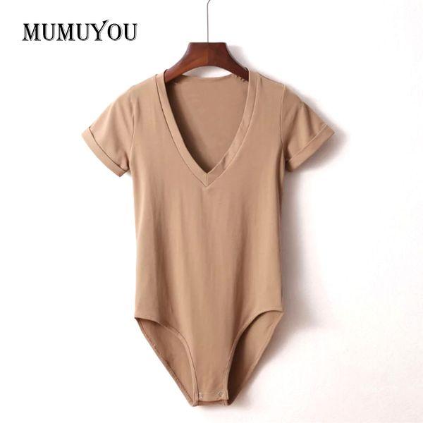 Senhoras das mulheres Sexy Magro Cor Sólida Profundo Decote Em V Elástico Assentamento T-shirt Camiseta Top Macacão Bodysuit Branco Preto 204-A012