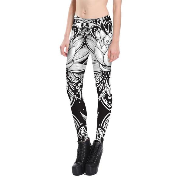 Çiçek Paisley Soyut Baskı Tozluk Yumuşak Artı Boyutu Beyaz Siyah Lotus Çiçeği Legging Ince Pantolon kadın Sıska Pantolon Güz ...