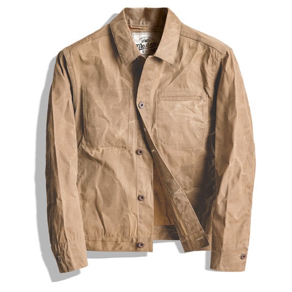 Men Jacket and Coat tool American retro heavy oil wax canvas khaki jacket classic double cut slim male