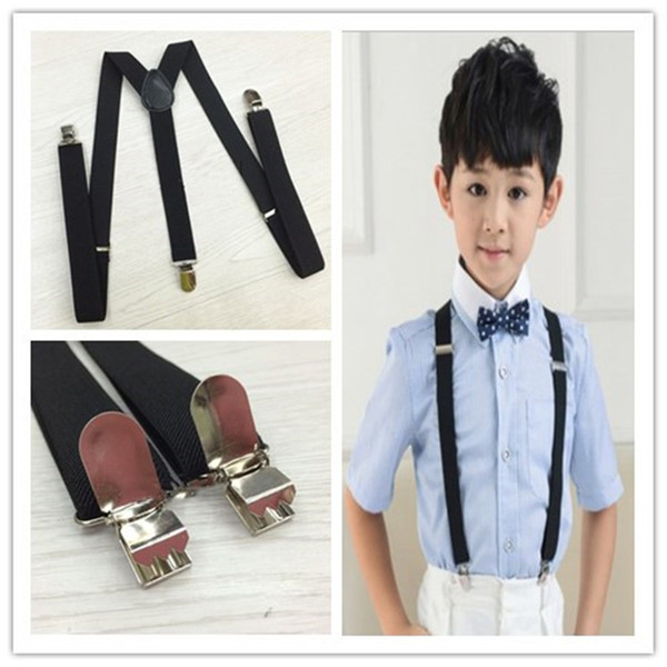 2.5X85cm children boys girls Y-back black Suspenders 3 Clip-on Elastic braces designer belts kids trousers shoulder Straps