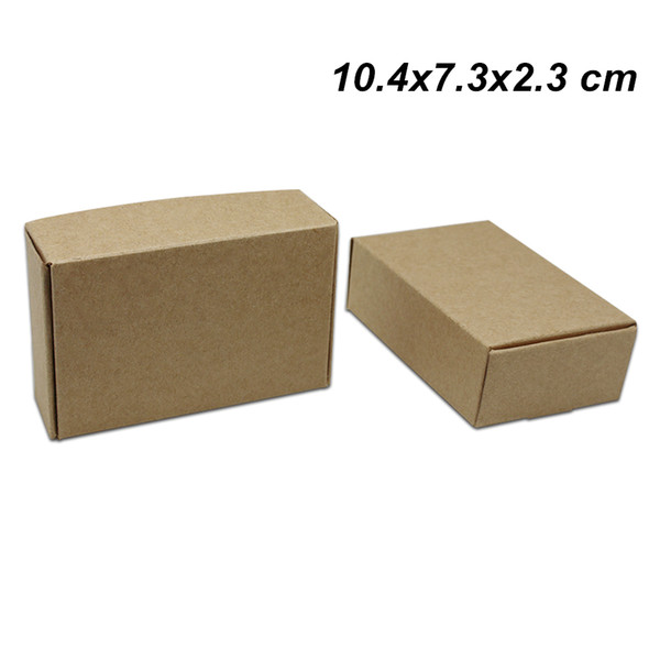 50Pcs/lot 10.4x7.3x2.3 cm Brown Kraft Paper Gifts Box for Party Cake Candy Paper Board Jewelry Chocolate Cookies Handmade Soap Packing Boxes