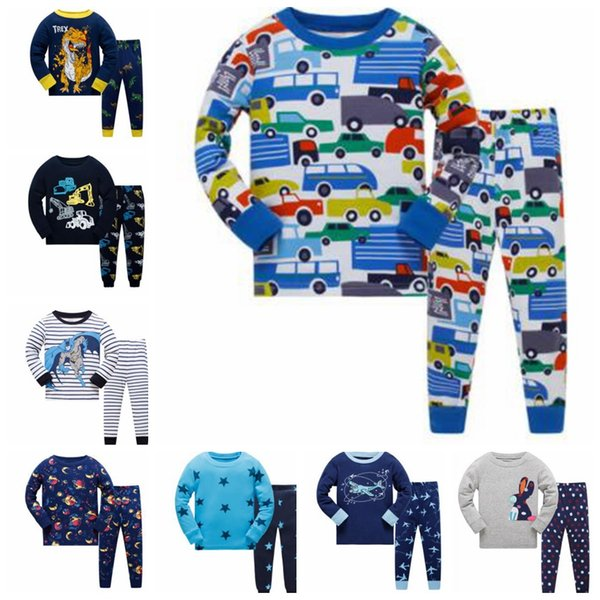 22 design Boys Girls Pajamas Kids Long Sleeve Cotton 2 Piece Set Baby pajamas sets boys Cartoon Flamingo Dinosaur Sleepwear Suit 3-8Y