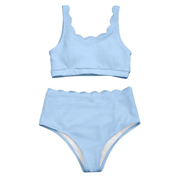 ab63d26bf2 New High Waisted Women Swimsuit Scalloped Bralette Bikini Set Swimwear Solid  Color Beach Bathing Suit Summer