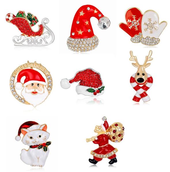 Christmas brooches pins christmas hats elk santa claus corsages 2018 new good quality brooch pin jewelry 667