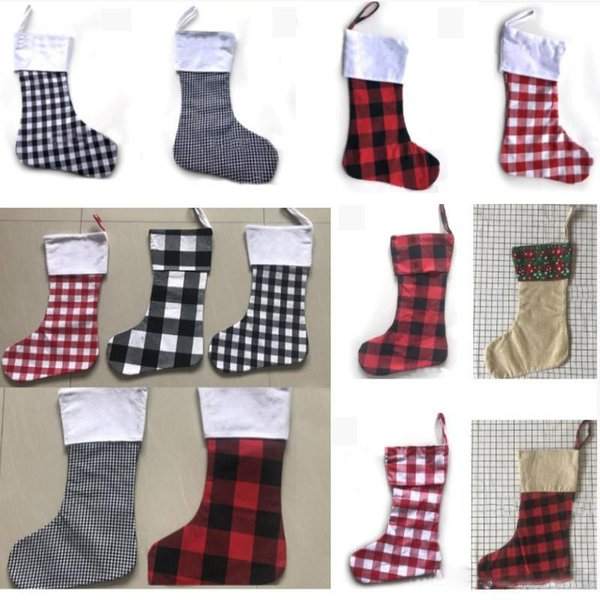 Christmas Decoration Plaid Stocking Gift Wrap Bag Christmas Tree Decoration Sock Personalize Kids Candy Gift Bags X-mas Stockings