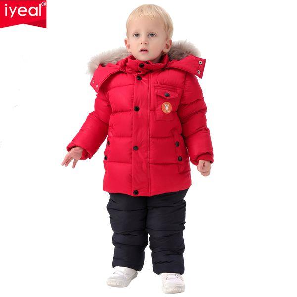 IYEAL Rússia Inverno Crianças Conjunto de Roupas para Meninos Infantis Para Baixo Algodão Casaco + Macacão À Prova de Vento Terno De Esqui Crianças Roupas de Bebê