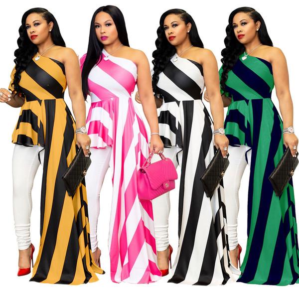 2019 модные полосатые нерегулярные женщины платья партии для клуба сексуальная сторона длинное одно плечо с коротким рукавом оборками мода повседневная Dress 4 цвета