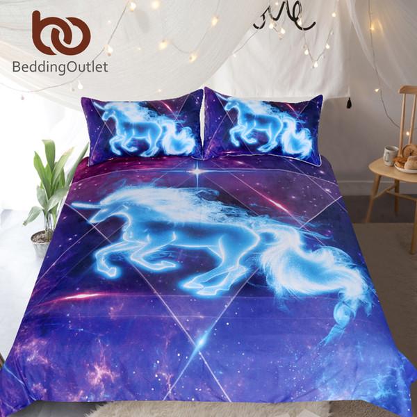 Copripiumino BeddingOutlet 3D dell'unicorno Federa Galaxy Stars for Kids Vivid Stampato 3pcs Biancheria Universo Blu Rosa Bed Set
