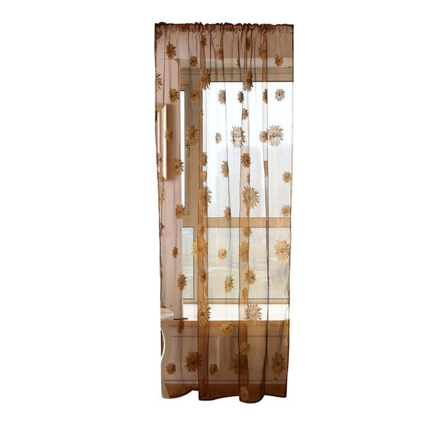 Janela de Tule transparente Sheer Janela Tela Rod Varanda Voile Cortinas com Girassóis Paern para Quarto Decoração Do Quarto
