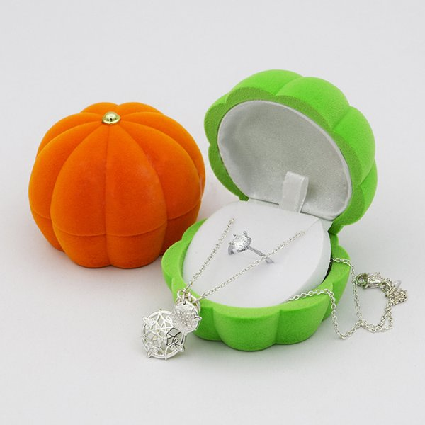 Wholesale 10 pieces Women Jewelry Packaging Display Boxes Lovely Orange Green Pumkin Design Earrings Storage Case Ring Box