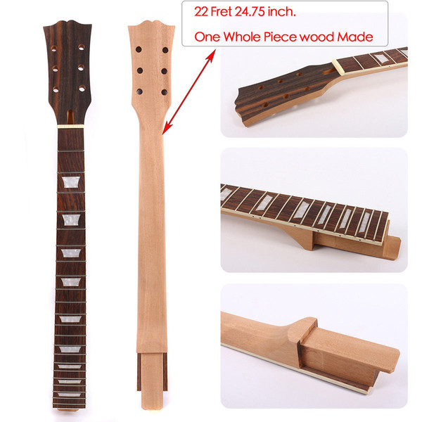 Yinfente Electric Guitar Neck Replacement 22 Fret Rosewood Fretboard One Piece Wood Made 24.75 inch Guitar parts