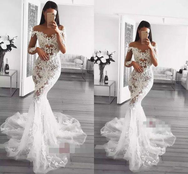 Sirena Vestidos de novia Illusion Sheer Bateau Cuello tren Tren de manga larga Vestidos de boda de playa Apliques de encaje Vestido de novia de talla grande