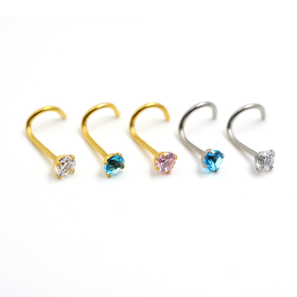 Fashion Nose Rings S Shape Nose Hoop Ring Stud Ring Body Jewelry Piercing Stainless Steel Earring Studs Free Shipping