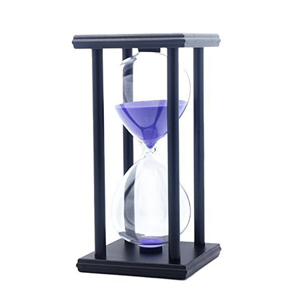 60 Minutes Simple Black Flame with White Purple Sand Hourglass Four Square Wooden Hourglass 1hour Sand Timer Room Decoration