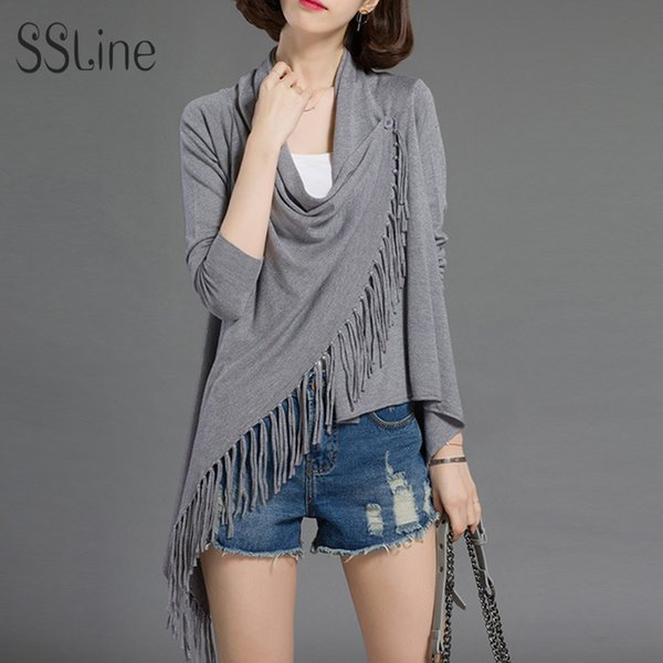 SSLine Spring Casual Sweater and Cardigans Tops women Outwear Jacket Long Sleeve Irregular Hem Tassels Cape Poncho for ladies