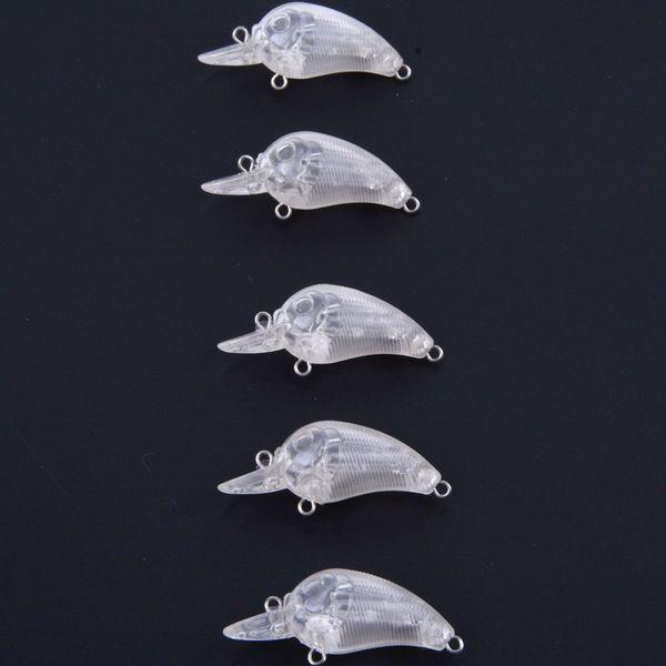 20 Pcs Unpainted Crank 45mm 3g Fishing Blank Lures Shallow Crankbaits Hard Fake Baits with Rattles
