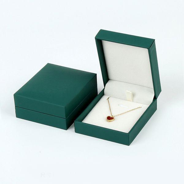 Green Fancy Paper Jewelry Gift Boxes Finger Ring Studs Earring Pendant Necklace Bangle Bracelet Packaging Box with White Velvet Insert