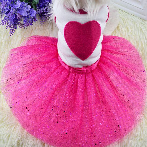 Cute Pet Dog Dress Bling Princess Love Clothes Flower Supplies Fashion Lace Cat Dog Dress Spring Summer Puppy Skirt Pet