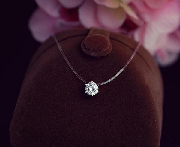 Посеребренные блеск Циркон ожерелье невидимый прозрачный леска короткая цепь кулон Neckalce для женщин ювелирные изделия подарок