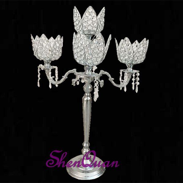 crystal lotus flower candle holder wedding favors,crystal beaded candle holders for wedding,tall 5-arms crystal candle holder/candlestick