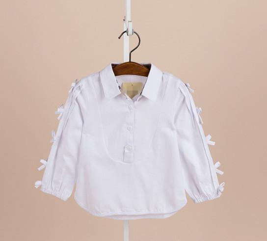 Girls shirt fashion new children lapel bows long sleeve shirt kids cotton princess tops girls blouse white pink mustard 2-6T A00895