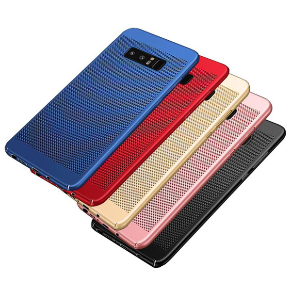 Cajas del teléfono para Samsung Galaxy S6 S7 Edge S8 Plus Note 8 PC Sink Malla de ventilación Armor Full Package Hard 5 colores