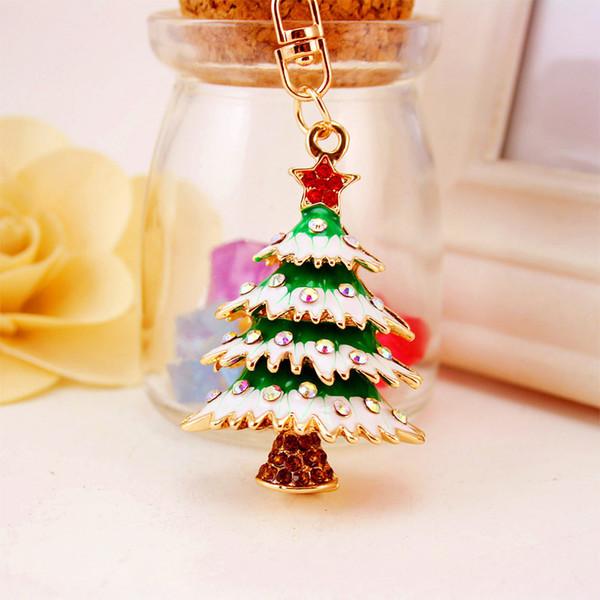 Chaveiro de liga de árvore de Natal chaveiro - cristal Rhinestone Chaveiro titular Womens saco charme - presente de Natal festa Favor